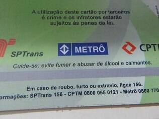 Verso do bilhete único de Sandro: SPTrans, Metrô e CPTM