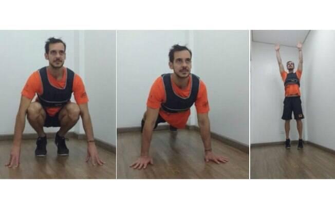 Finalize o burpee com um salto para ter ainda esforço no exercício