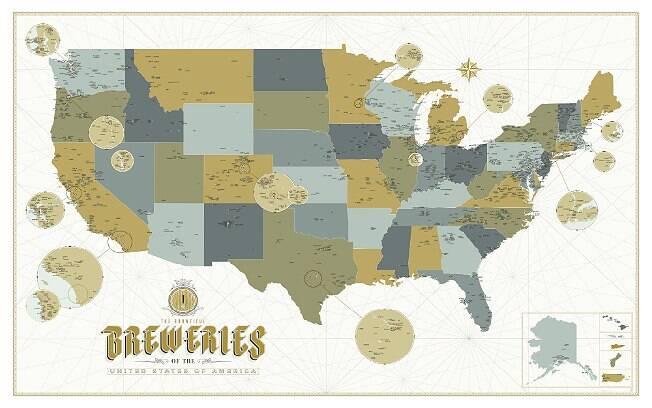 Mapa detalhado mostra mais de 2.500 cervejarias, microcervejaris e brewpubs