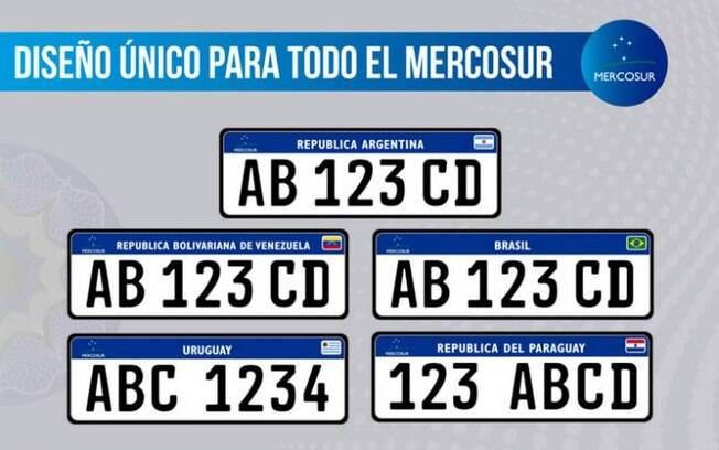 Novas placas para automóveis válidas para todo o Mercosul.