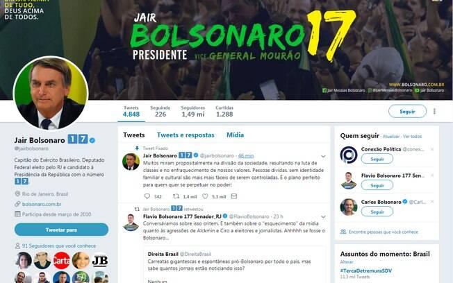 Tweet de Jair Bolsonaro foi apagado poucos minutos depois de ser publicado, na manhã desta terça