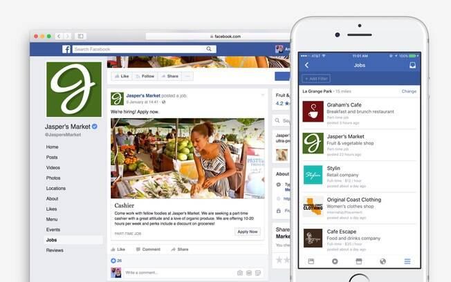 Busca por empregos no Facebook poderá ser feita pelo computador ou por dispositivos móveis