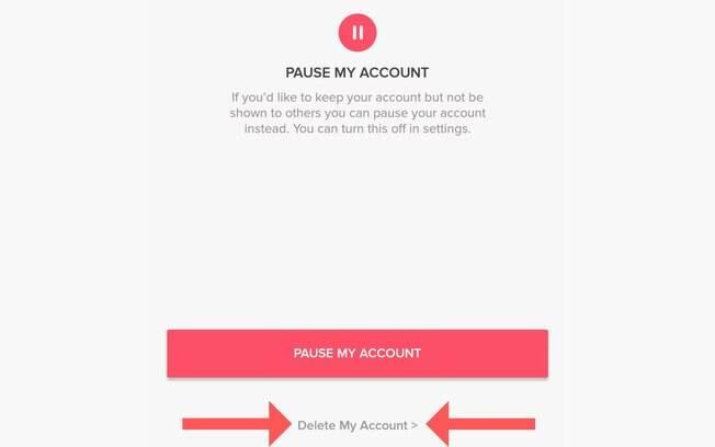 Como apagar o Tinder #4: A opção de excluir definitivamente a conta fica discreta abaixo do botão de pausar a conta