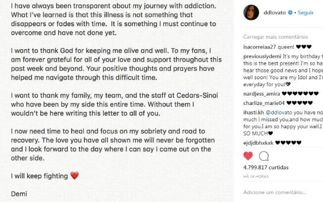Carta aberta de Demi Lovato