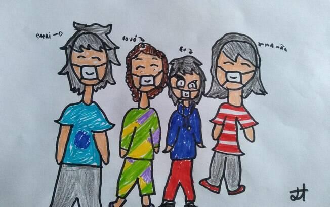Desenho feito pela minha filha para a avó que estava na UTI