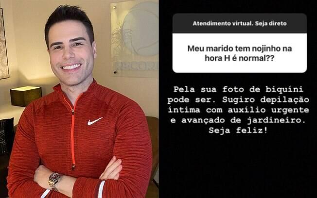 Luiz Bacci sugere que seguidora faça depilação íntima