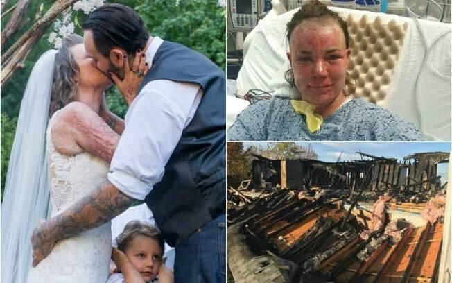 Angel salvou os filhos do incêndio da casa e meses depois se casou
