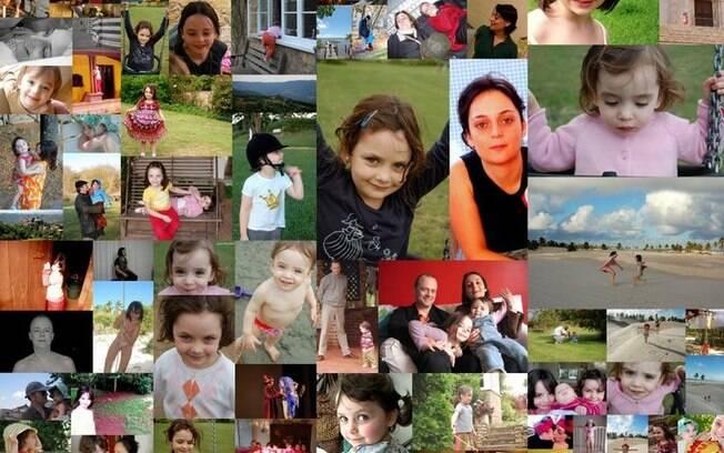 Um painel de fotos com a família de Silvia Carone: as filhas Helena, Ana e Laura