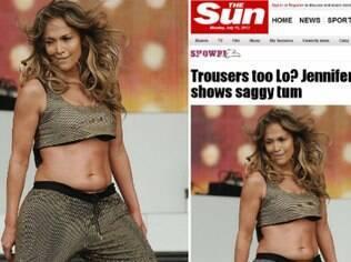 Jennifer exibe abdômen flácido durante show no domingo (14), em Londres