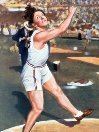 Ilustração da atleta Lillian Copeland, na prova de arremesso de disco