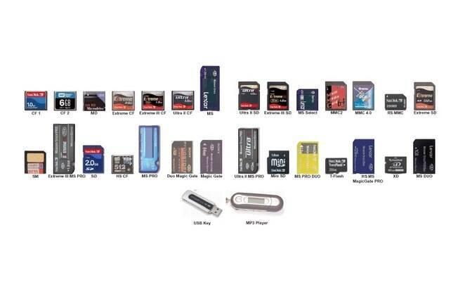 Cartões de memória e pen drives usam memórias do tipo Flash