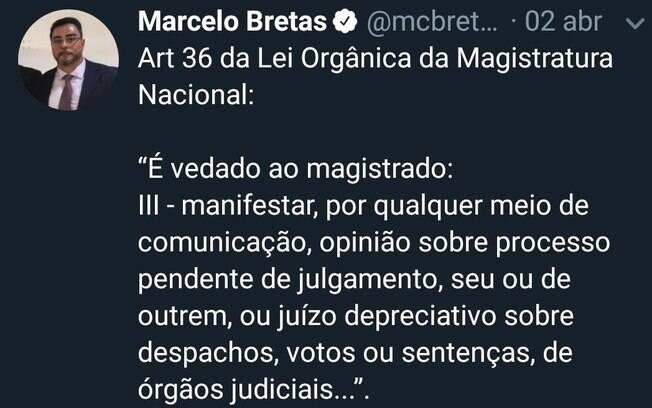 Marcelo Bretas citou o Artigo que feriu no dia 2 de abril