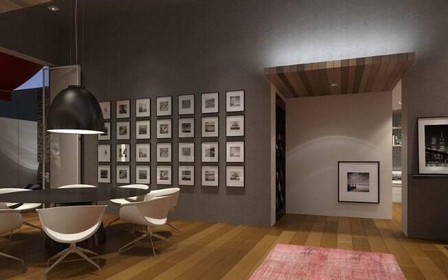 A organização dos quadros na parede foi um diferencial dos profissionais. Destaque também para o uso de madeira