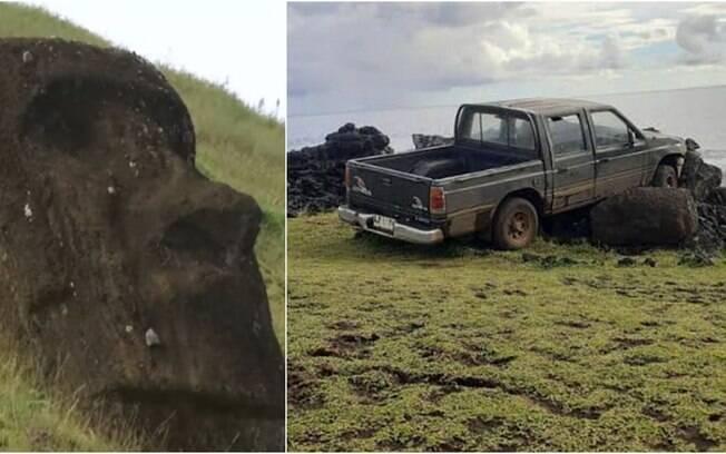 Monumento foi destruído por caminhonete na Ilha de Páscoa
