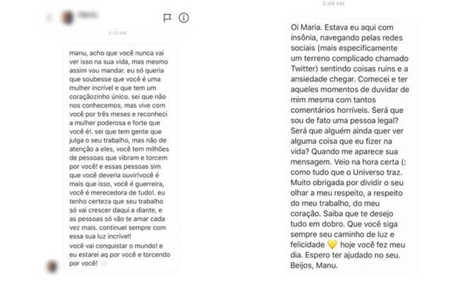 Troca de mensagens entre Manu Gavassi e uma fã