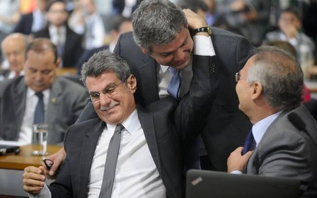 Senadores Romero Jucá, Lindbergh Farias e Renan Calheiros na comissão que trata da reforma trabalhista