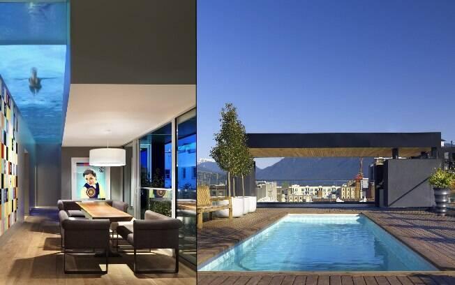 Piscina com estrutura de vidro fica aparente na cobertura do hotel The Keefer, em Vancouver, no Canadá