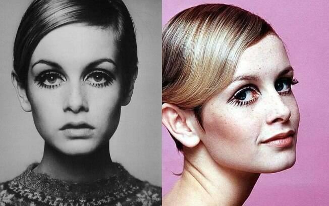 Modelo Lesley Lawson, a Twiggy, foi exemplo para as sobrancelhas mais finas em uma época valia até raspar