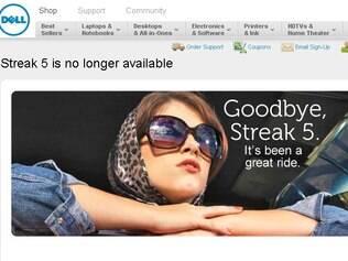 Página oficial da Dell anunciou o fim do Streak 5 no ano passado