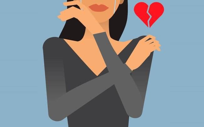 ilustração de mulher com coração partido