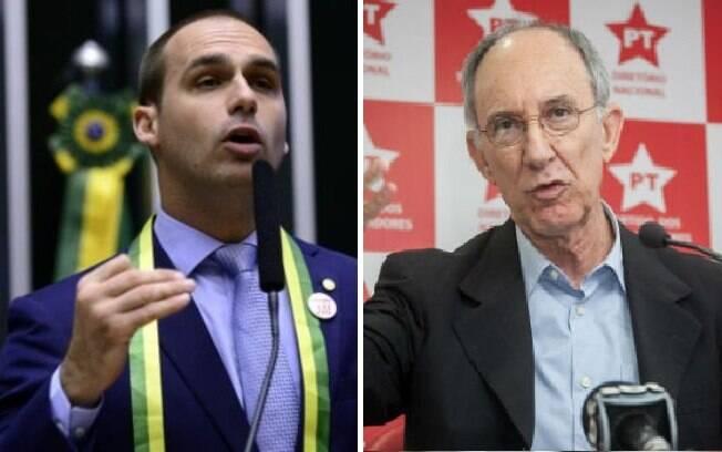 Os candidatos Eduardo Bolsonaro (PSL)  e Rui Falcão (PT) foram dois dos deputados eleitos que tiveram mais votos em SP