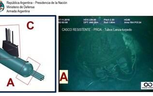 Marinha da Argentina divulga primeiras imagensde submarino