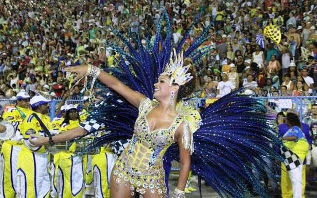 A atriz Juliana Alves desfilou novamente como rainha de bateria da Unidos da Tijuca