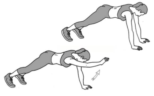 Exercícios da prancha com o braço estendido