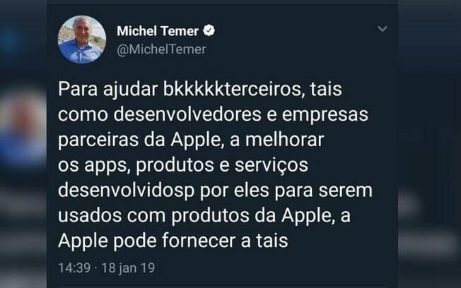 Ex-presidente Michel Temer fez publicação no Twitter sobre a empresa norte-americana Apple