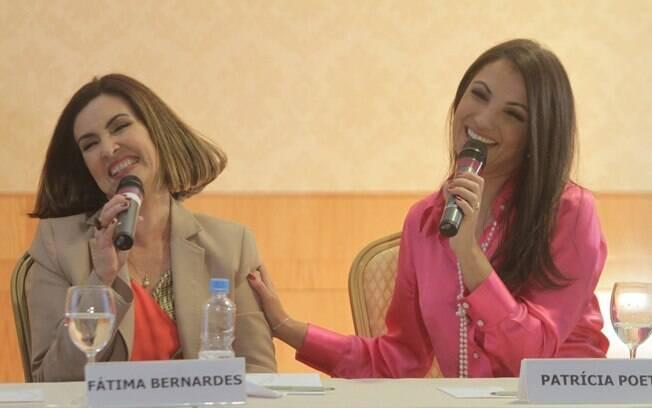 Fátima Bernardes e Patrícia Poeta na coletiva de imprensa que anunciou a mudança no Jornal Nacional, nesta quinta (1)