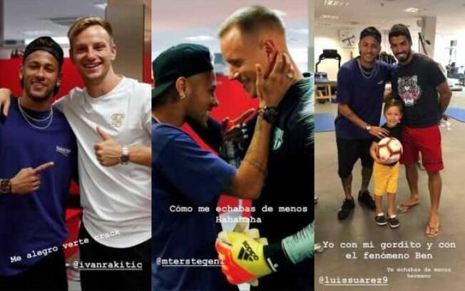 Neymar publicou foto com os ex-companheiros Rakitic, Ter Stegen e Suárez
