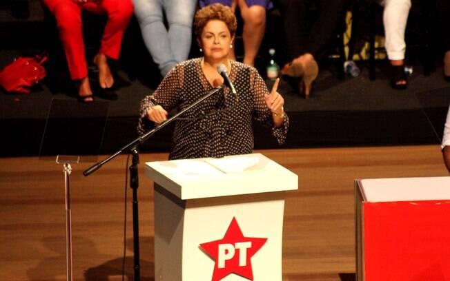 Dilma Rousseff durante a celebração dos 35 anos do Partido dos Trabalhadores (PT), em Belo Horizonte (MG)