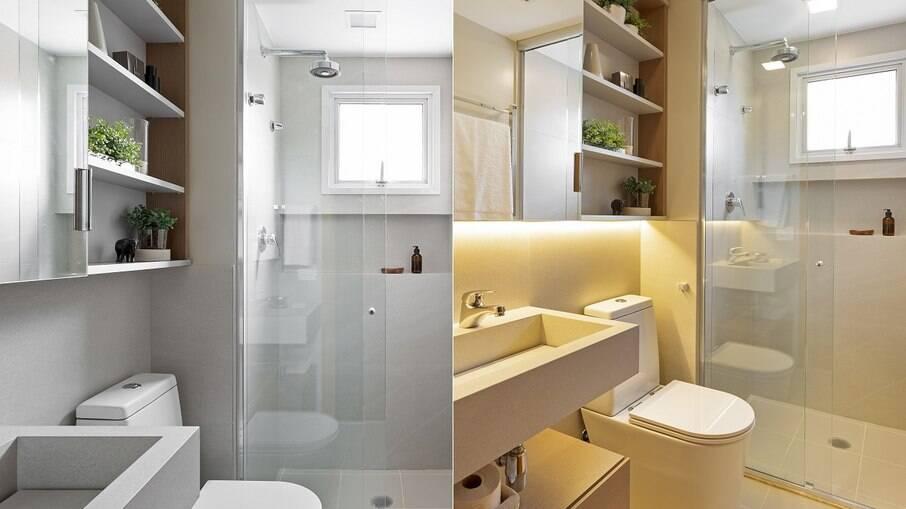 Com o projeto assinado pelas especialistas do escritório Oliva Arquitetura, este banheiro com box do piso ao teto é perfeito para um banho relaxante e quentinho ao final do dia. As luzes de led instaladas na marcenaria ajudam a construir um clima ainda mais intimista e acolhedor