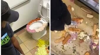 Funcionário do Subway decora vaso com frios e vandaliza a loja