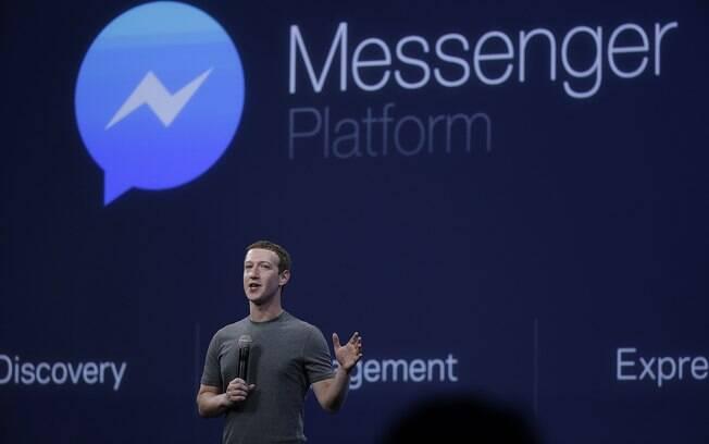 CEO do Facebook, Mark Zuckerberg fala sobre o aplicativo Messenger na conferência para desenvolvedores, a F8