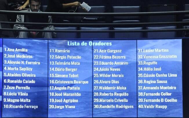 No painel, a ordem dos senadores inscritos para falar antes do início da votação que decidirá a admissibilidade do processo de impeachment no Senado. Foto: Geraldo Magela/Agência Senado - 11.05.2016