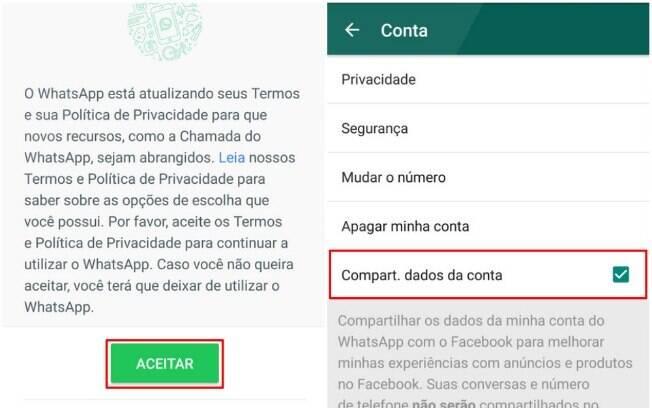 Tela apresentada pelo WhatsApp durante a transição dos termos de uso é outro problema apresentado por especialistas