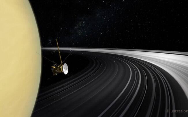 Ilustração mostra a sonda Cassini atravessando os anéis de Saturno.
