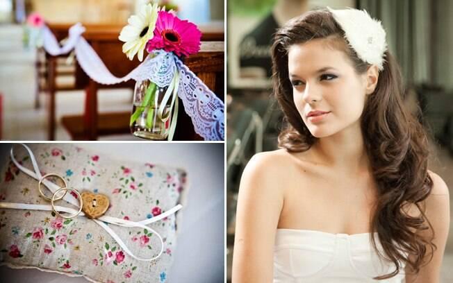 Cabelos soltos, decoração simples, almofada de alianças estampada: toques de um casamento informal