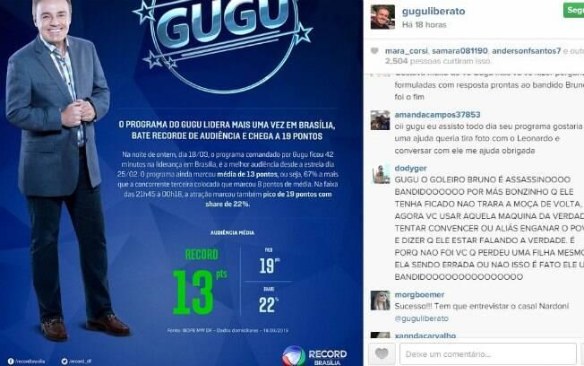 Gugu é alvo de críticas no Instagram