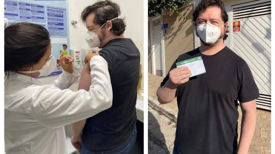 Atila Iamarino toma 1ª dose da vacina contra a Covid-19 em SP
