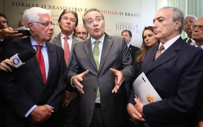 Peemedebistas: o ex-ministro Moreira Franco, o senador Renan Calheiros e o vice Michel Temer