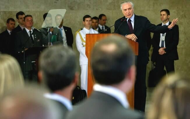Presidente Michel Temer durante cerimônia realizada no Palácio do Planalto nesta quinta-feira (26)