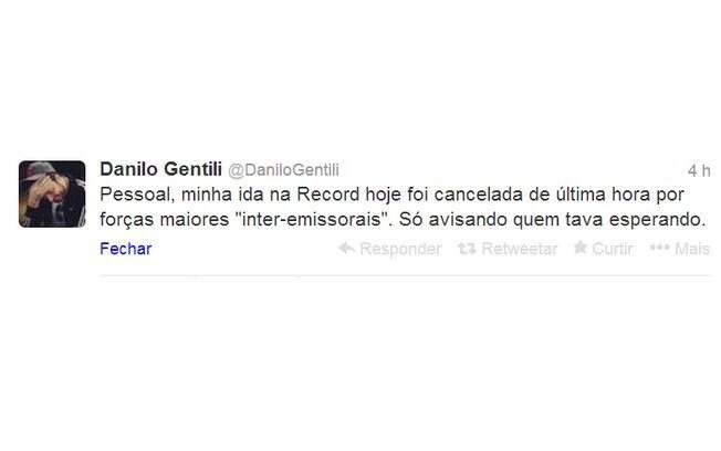 Danilo Gentili anuncia que foi vetado na Record