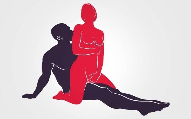 3. CAVALGADA DE COSTAS SENTADA: de costas, ela senta sobre o corpo dele