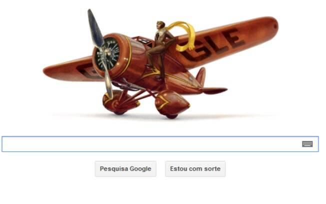 Google faz homenagem com logotipo especial em formato de avião à Amelia Earhart