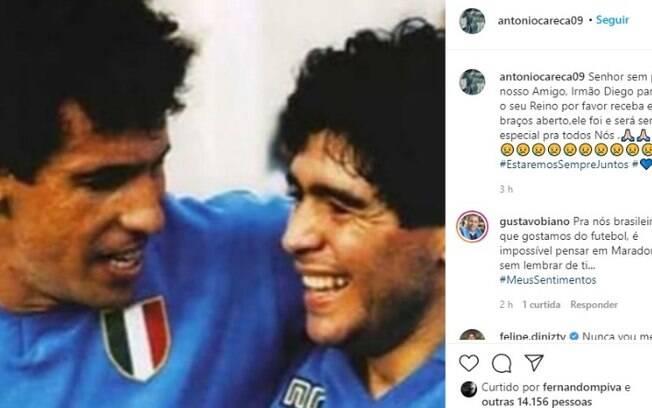 Melhor companheiro de time, Careca homenageia Maradona
