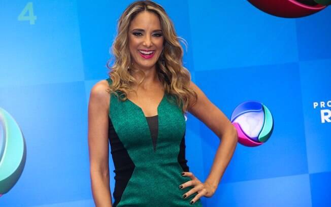 Ticiane Pinheiro durante o lançamento da nova programação da Record