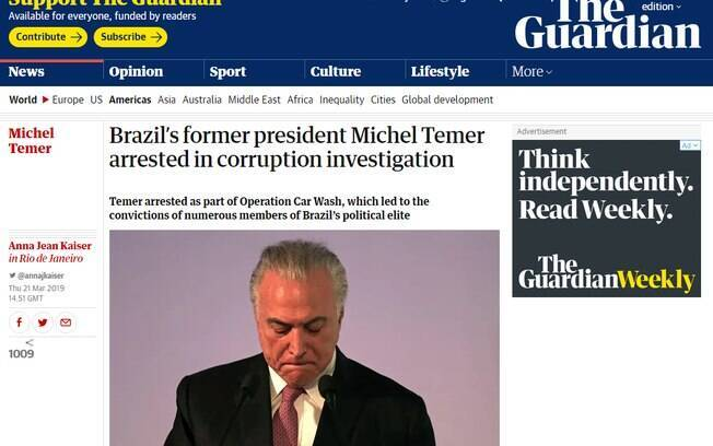 Prisão de Michel Temer repercute na imprensa  internacional; veja como cada jornal tratou o assunto