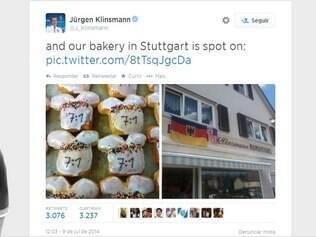 Treinador alemão postou imagem da iguaria em seu perfil oficial no Twitter